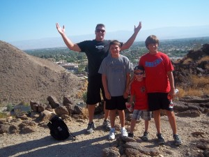 Michael and the boys at the top of the mountain... We did it!